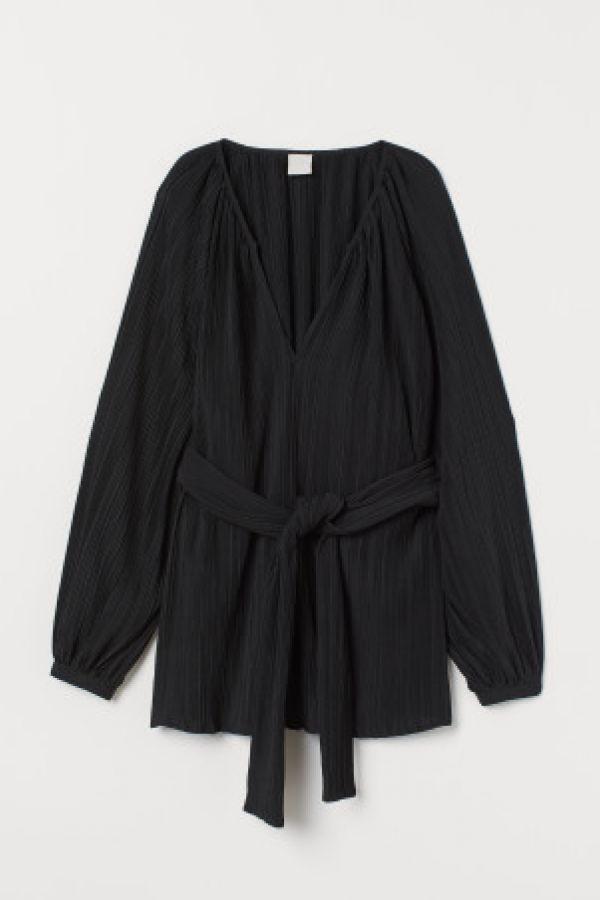 Bluza plisata cu cordon