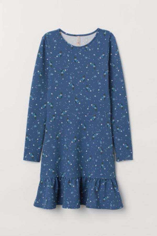Rochie de jerseu cu volane