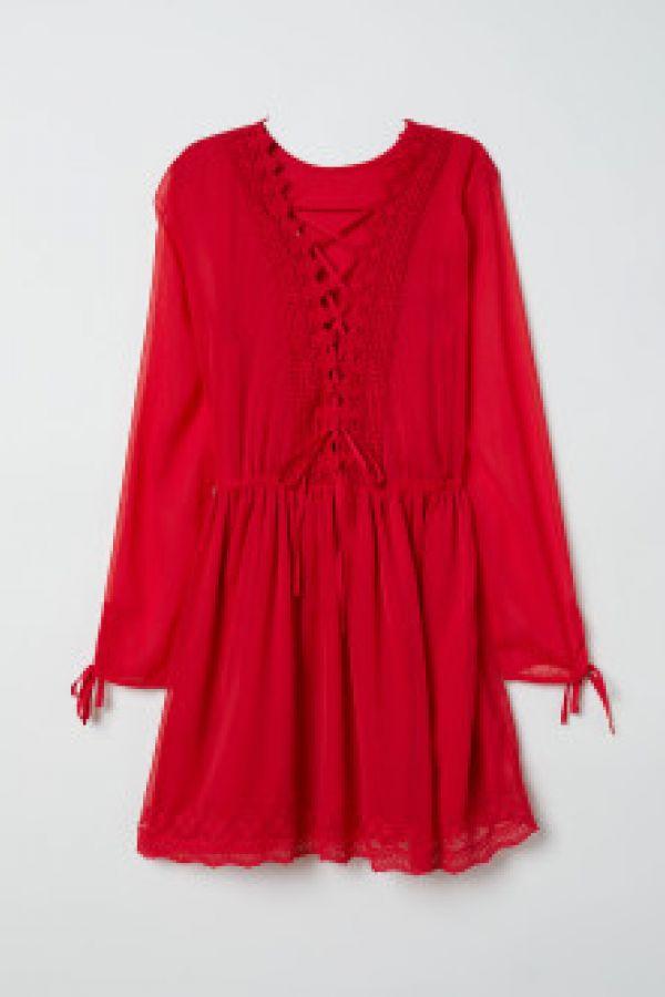 Rochie de sifon cu dantela