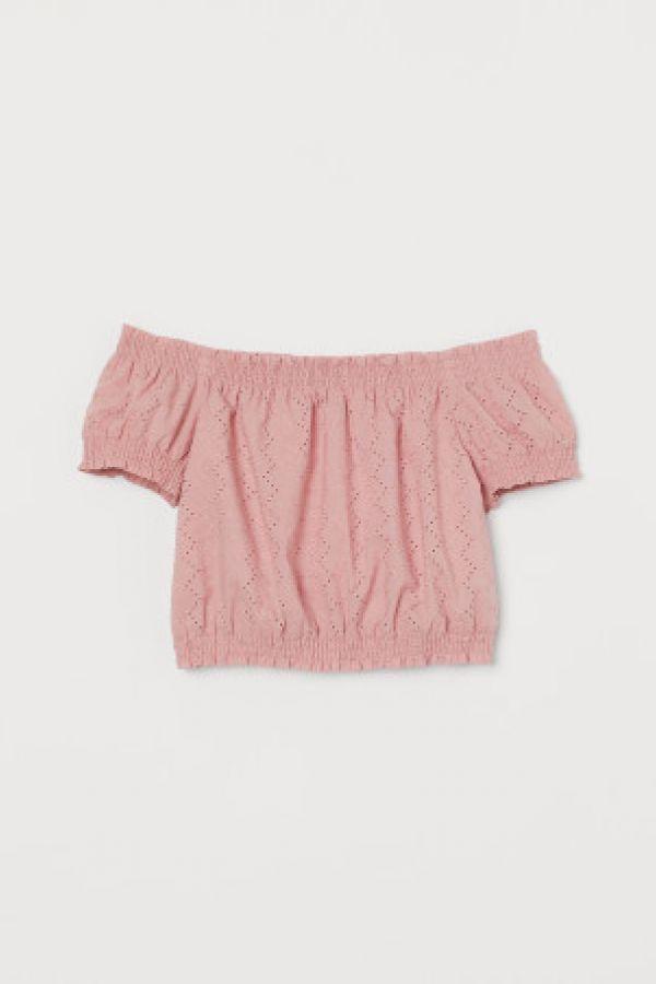 Bluza de bumbac cu umerii goi
