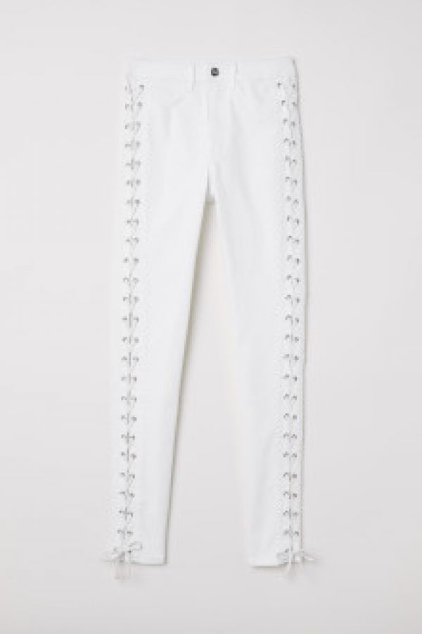 Pantaloni din twill cu siret